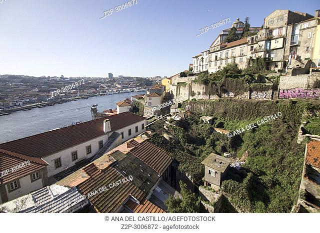 Cityscape in Porto, Portugal. View from the top of the Luis I bridge