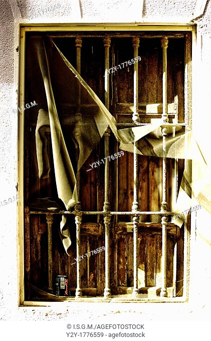 Old window in Foios Village, Valencia, Spain