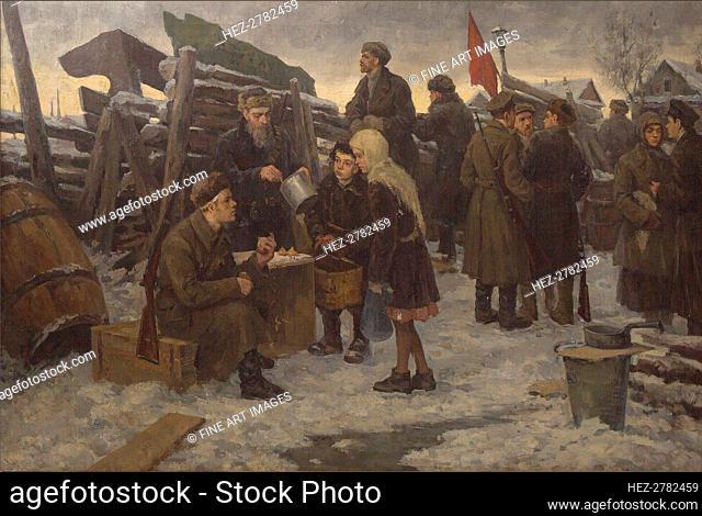 Morning on the Barricades. Creator: Nikiforov, Semyon Gavrilovich (1877-1912)