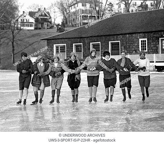 Northampton, Massachusetts: March 8, 1928.A group of Smith College girls show their skating talents on the ice of Paradise Pond