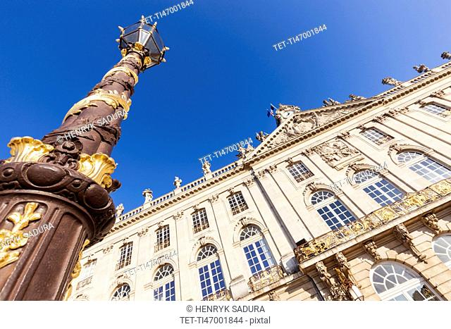France, Grand Est, Nancy, Low angle view of City Hall on Place Stanislas