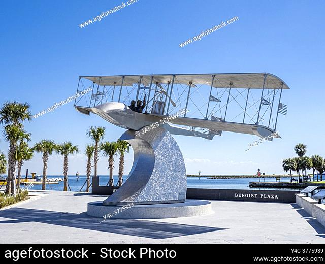 Flying boat at the Worlds First Airline monument in Benoist Plaza on the new St Pete Pier opened in 2020 in St Petersburg Florida USA