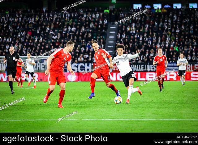 Wolfsburg, Germany, March 20, 2019: Leroy Sané (GER) in action against Serbian opponents during the international game Germany vs Serbia