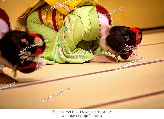 Show of Maikos,(geisha apprentices)they interpret Kyomai, is a Kyoto dance,at Gion Kobu Kaburenjo, geisha's distric of Gion,
