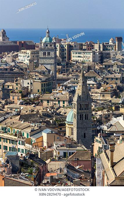 Cityscape from Spaniata Castelletto, Genoa, Liguria, Italy