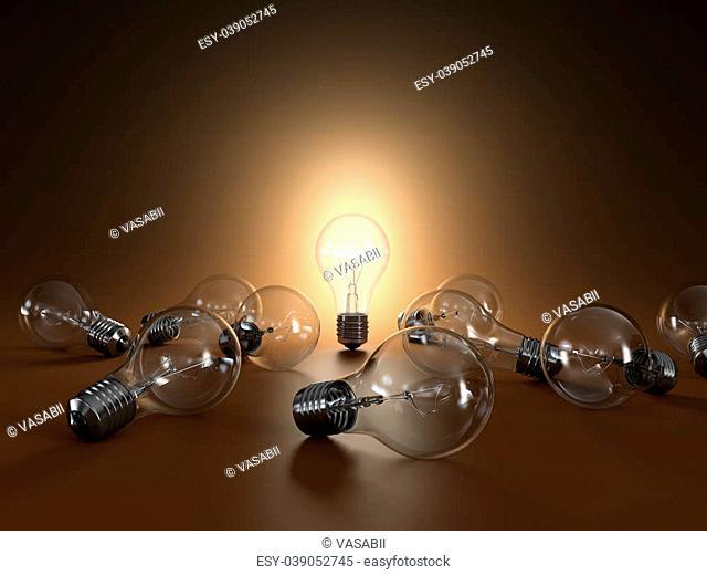 3D illustration of simple light bulbs isolated on orange background