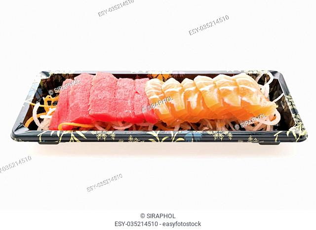 Raw fresh Salmon meat sashimi and Raw fresh Tuna meat sashimi in black box isolated on white background - Japanese food style