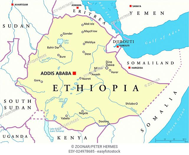 Ethiopia on world map Stock Photos and Images | age fotostock