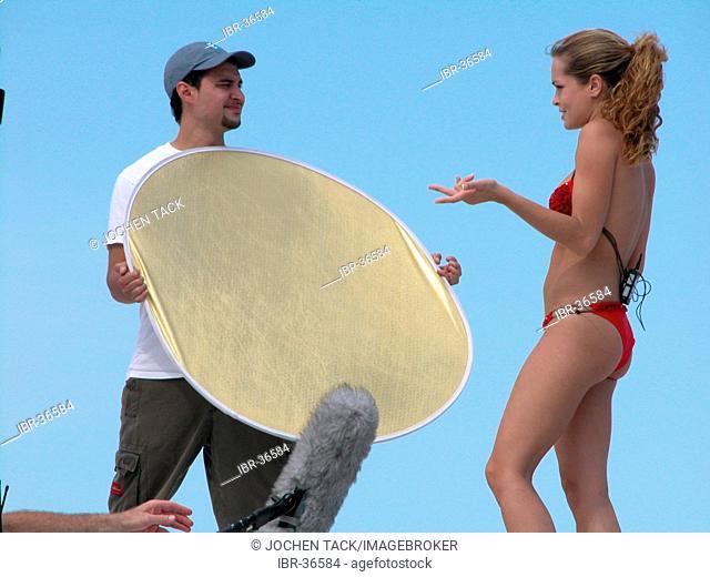 USA, Florida, Miami Beach: TV host on the beach