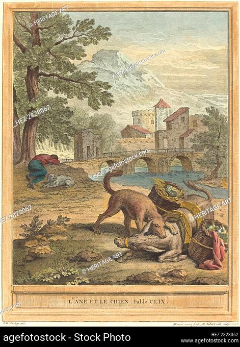 L'ane et le chien (The Donkey and the Dog), published 1756. Creator: Michel Aubert