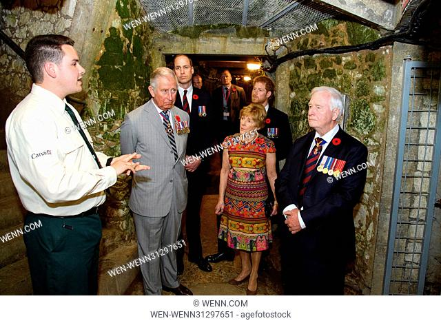 The Prince of Wales, The Duke of Cambridge and Prince Harry attend the Centenary of the Battle of Vimy Ridge Featuring: Prince Charles, Prince William