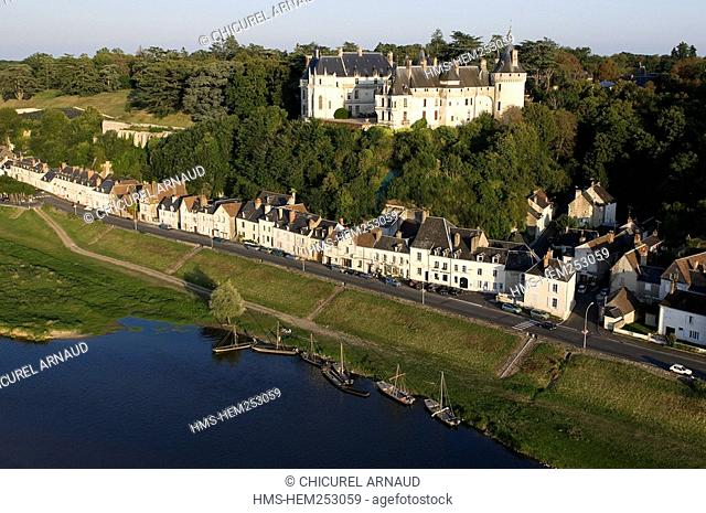 France, Loir et Cher, Loire Valley listed as World Heritage by UNESCO, Chaumont sur Loire, the castle, the village and the Loire river aeriel view