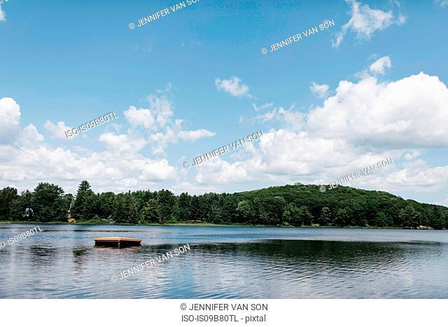 Raft on lake, Huntsville, Canada