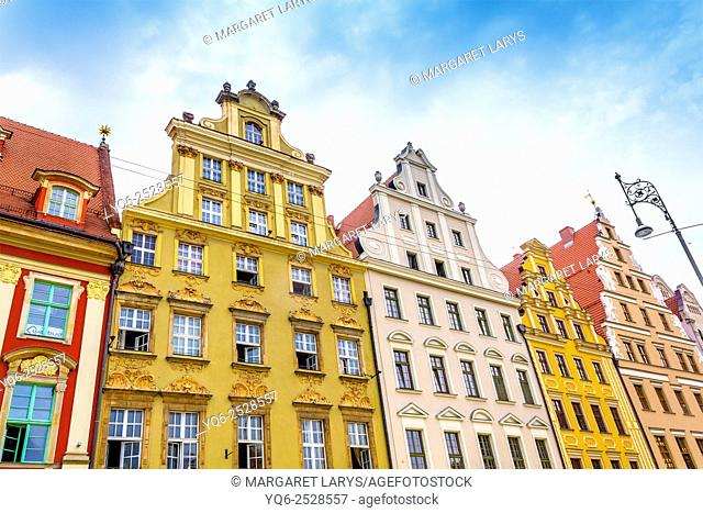 Close up of old, historical tenement houses at the Old Market Square in Wroclaw, Poland