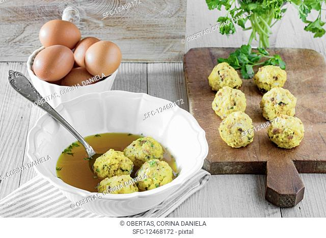 Canederli, typical bread dumplings with speck, eggs and parsley