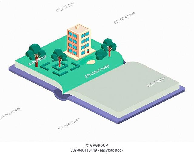 building and trees isometric scene on book vector illustration design