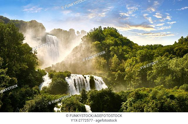 Cascata delle Marmore (Marmore Falls), part of a Roman land drainage system built 271BC, at 165 m (541 feet) high it is one of the higest man made waterfalls in...