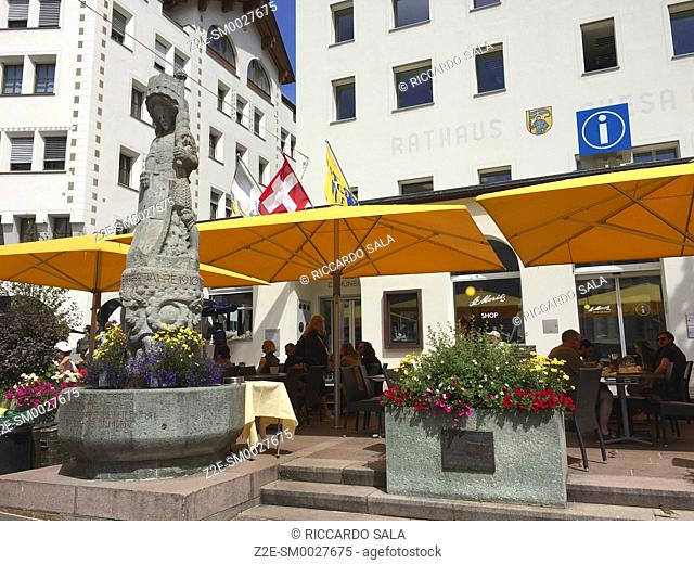 Switzerland, Graubunden Canton, Saint Moritz, Fountain