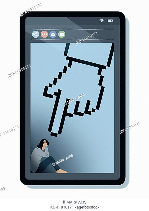 Unhappy teenager on smart phone screen with large pointing cursor finger