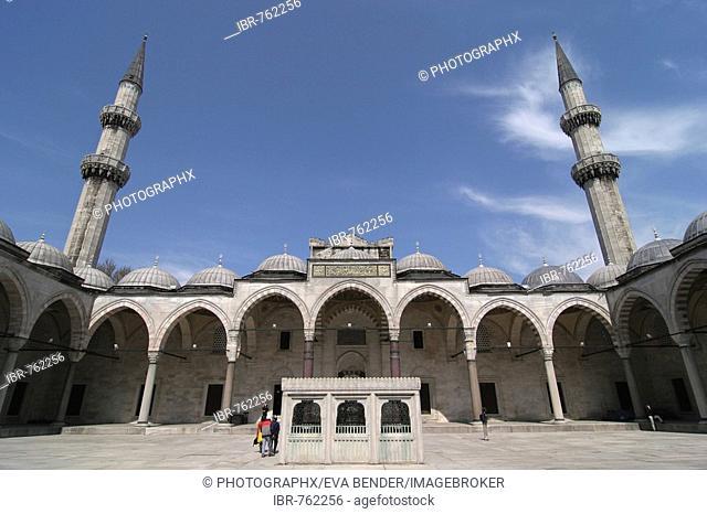 Inner courtyard of the Sueleymaniye Mosque in Istanbul, Turkey