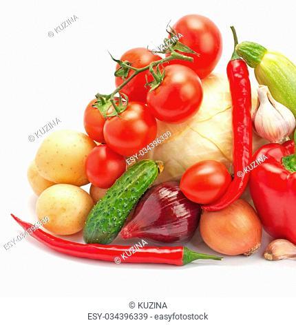 fresh, ripe vegetables isolated on white background