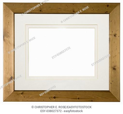 Empty pine wood picture frame with mount isolated on white, landscape format