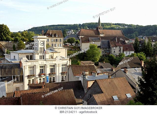 Town Hall and Sainte Croix church, Aubusson, Creuse, France, Europe