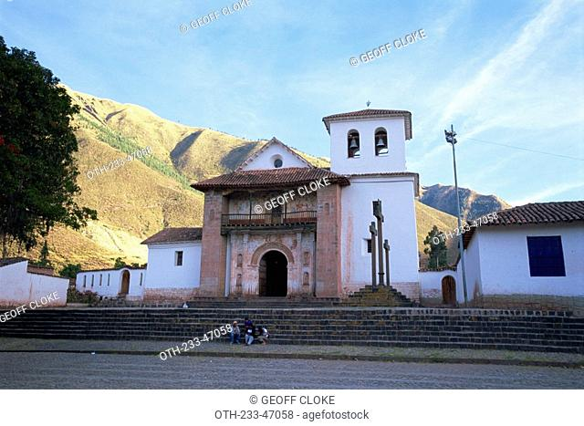 The 17th century Sistine Chapel of the Americas in the Andean village of Andahuaylilles, Peru