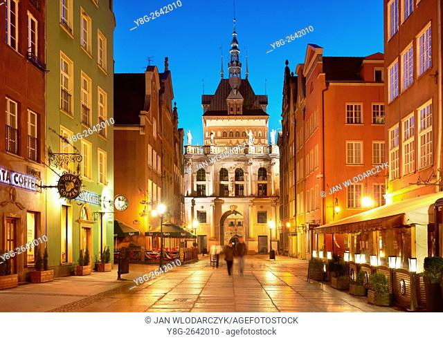 Gdansk - evening view of the Golden Gate, Old Town in Gdansk, Poland