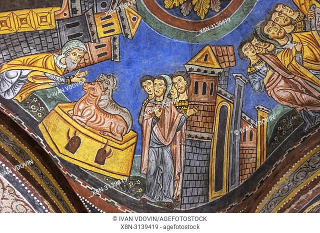 Fresco painting in the cathedral crypt, Anagni, Frosinone, Lazio, Italy