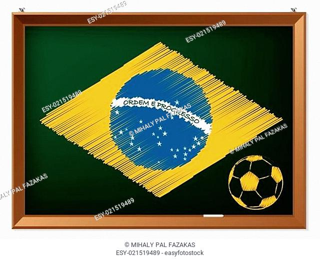 Brasil flag and soccerbal on chalkboard