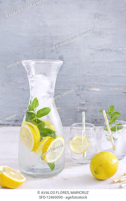 Refreshing lemon and mint water