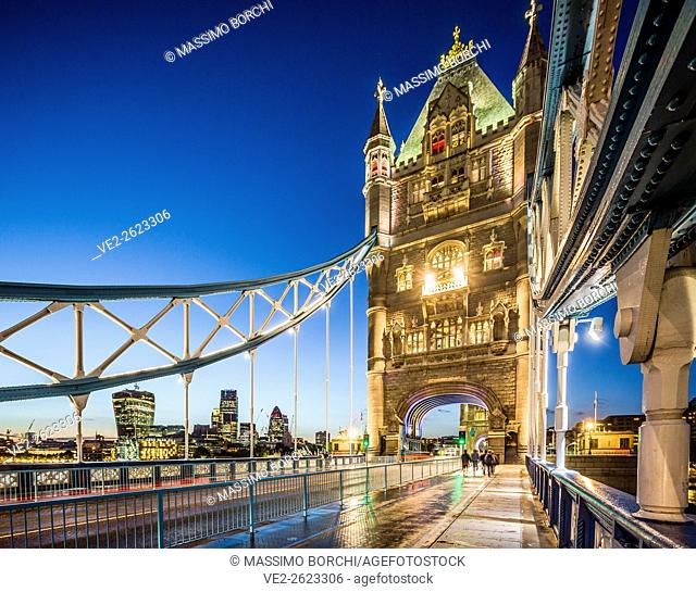 United Kingdom, England, London. The Tower Bridge and, on the background, The City