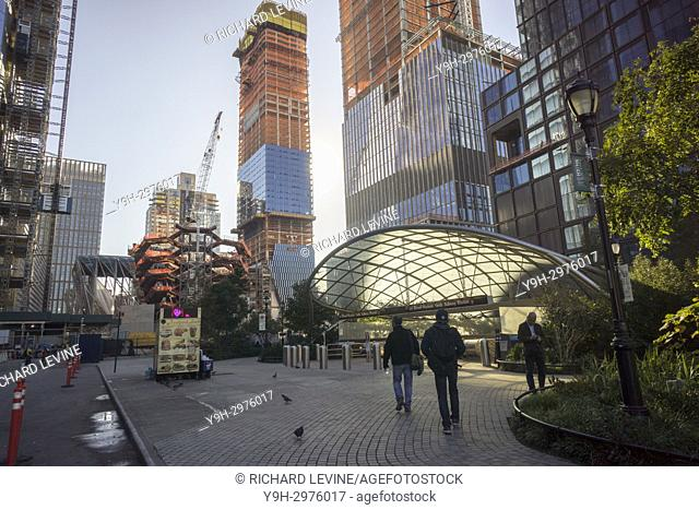 Development in the Hudson Yards neighborhood and the entrance to the Hudson Yards subway station in New York on Tuesday, October 17, 2017
