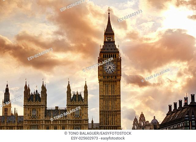 Big Ben Clock Tower in London sunset dramatic sky England