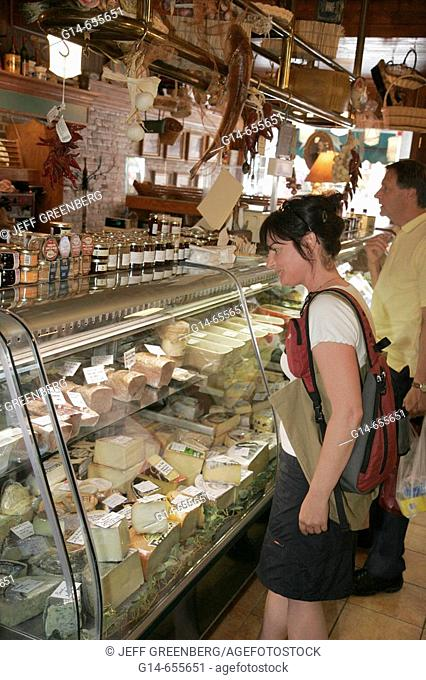 Canada, Quebec City, Rue Saint Jean, J. A. Moisan Grocer, gourmet food, established 1871, woman shops, cheese, meat
