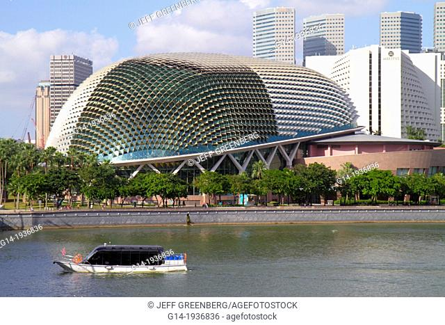 Singapore, Singapore River, Marina Bay, Esplanade Theatres on the Bay, theatre, theater, water taxi, cruise boat, Marina Promenade