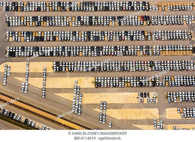 BMW factory, new car parking, car stockpile, Neutraubling, Upper Palatinate, Bavaria, Germany