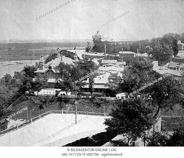 One of the first autotypes of the monument of st. vladimir, kiev, ukraine, historical photograph, 1884