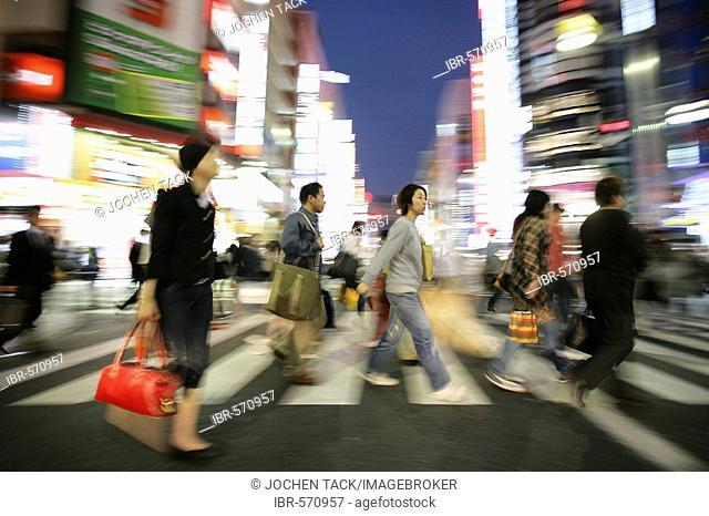 Japan, Tokyo: Shinjuku district. Shopping and amusement area at Shinjuku Dori street