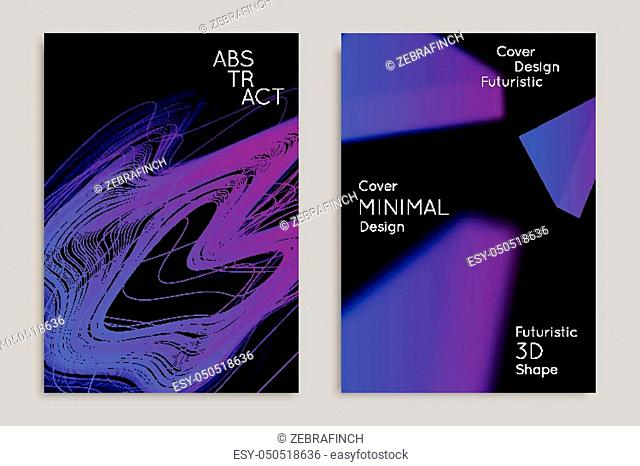Abstract banner template with blurred geometric shapes. Poster with gradient neon colored lines like tangled threads. Bright colorful fluid shapes on black...