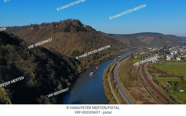 Cargo vessels on Saar river near Serrig, Rhineland-Palatinate, Germany