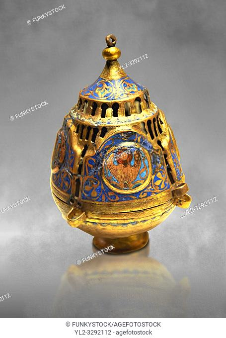 Limoges Gothic Christian thurible or incense burner, 13th century. Copper engraved with an application of Champlevé enamelling. Origin Unknown