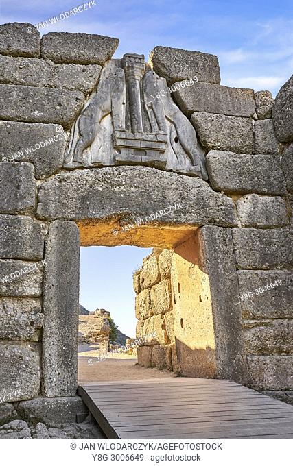 The Lion Gate, Mycenae, Argolis, Peloponnese, Greece