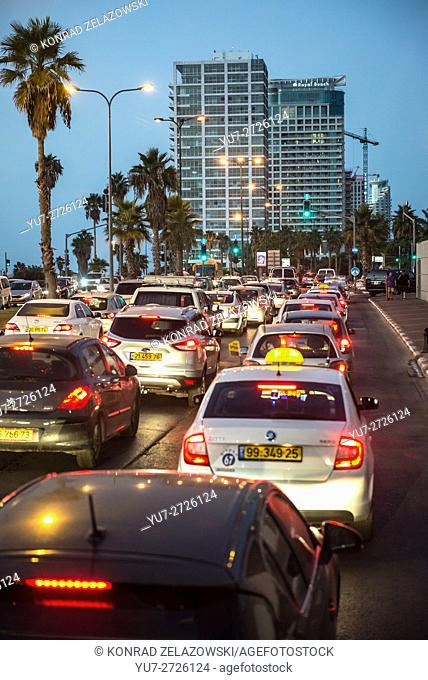 evening traffic at HaYarkon Street in Tel Aviv city, Israel