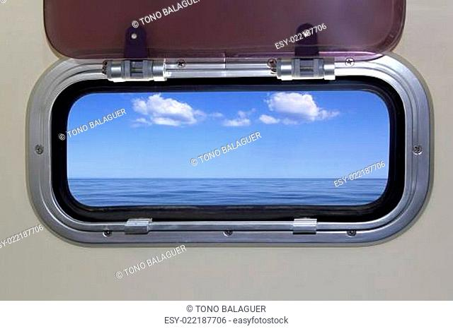 Boat porthole perfect sea view ocean blue