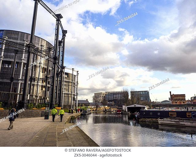 Cast-iron Victorian gasholders at King's Cross transormed into luxury homes in St Pancras Lock on Regent's Canal - London, England