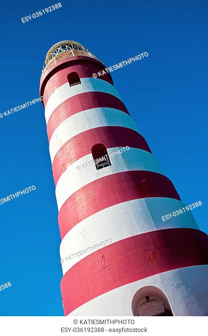 Red and white candy cane striped lighthouse on Elbow Cay, Abaco, Bahamas, Hope Town