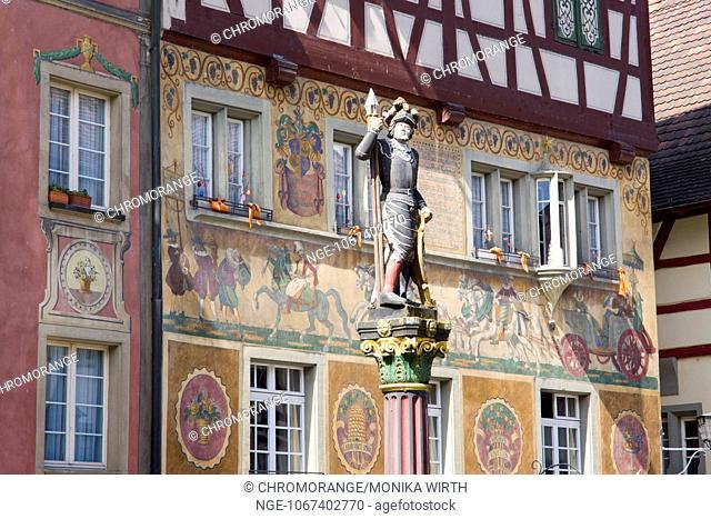 Houses with facade paintings at Rathausplatz square, Stein am Rhein, High Rhine, Canton of Schaffhausen, Switzerland, Europe