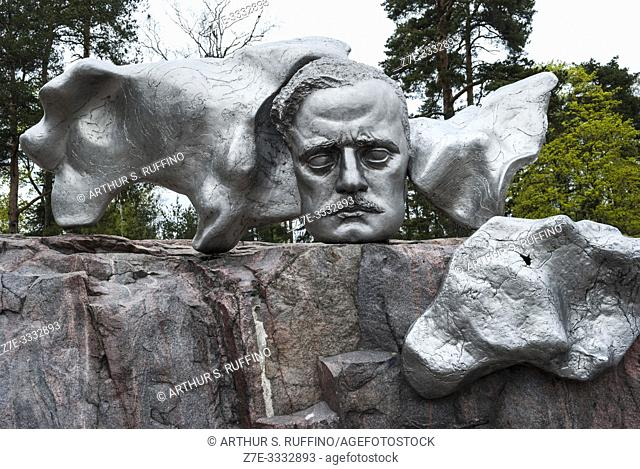 Head sculpture of Finnish composer Jean Sibelius. Sibelius Park and Monument. Helsinki, Finland, Europe
